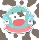 Милый вектор коровы, милый логотип коровы Стоковое Изображение RF