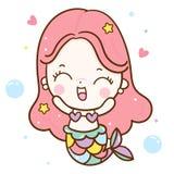 Милый вектор русалки, счастливая сказка характера Kawaii мультфильма девушки иллюстрация штока