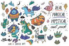 Милый волшебный комплект с йети, единорогом, драконом, русалкой, ламой и ленью в стиле шаржа также вектор иллюстрации притяжки co иллюстрация вектора
