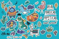 Милый волшебный стикер установил с йети, единорогом, драконом, русалкой, ламой и ленью в стиле шаржа также вектор иллюстрации при бесплатная иллюстрация