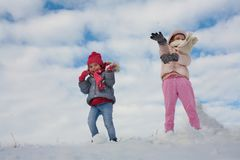 Милый гриль 2 в снеге Стоковые Изображения RF