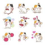 Милый дизайн характера котов иллюстрация штока