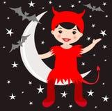 Милый дьявол сидя на луне иллюстрация вектора