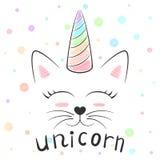 Милый единорог, иллюстрация meow кота Смешная принцесса и крона для футболки печати Стиль нарисованный рукой иллюстрация вектора