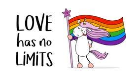 Милый единорог с флагом общины LGBT Гей-парад Месяц гордости Любовь, свобода, поддержка, символ мира иллюстрация вектора