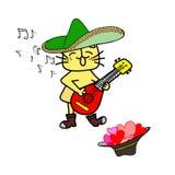 Милый желтый кот пеет Стоковые Фото
