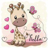 Милый жираф и бабочки шаржа бесплатная иллюстрация