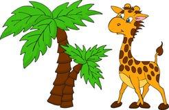 Милый жираф и пальма Иллюстрация растра Стоковые Изображения