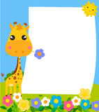 Милый жираф и рамка шаржа Стоковые Фотографии RF