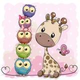 Милый жираф и сычи шаржа иллюстрация вектора