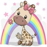Милый жираф шаржа с цветком иллюстрация вектора