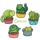 Милый завод суккулентных или кактуса в форме котов также вектор иллюстрации притяжки corel бесплатная иллюстрация