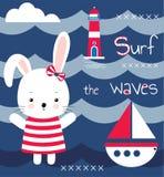 Милый зайчик, маяк, море и яхта девушки Печатание для детей, плакат детей, одежда детей, открытка Illust вектора иллюстрация вектора