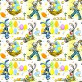 Милый зайчик пасхи и картина акварели яичек безшовная иллюстрация вектора
