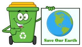 Милый зеленый характер талисмана шаржа мусорной корзины держа спасение наш знак земли иллюстрация вектора