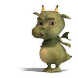 милый зеленый цвет маленький toon дракона дьявола иллюстрация штока