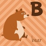 Милый зоопарк шаржа проиллюстрировал алфавит с смешными животными: B для медведя Стоковая Фотография