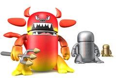 милый изолированная дьяволом белизна игрушки роботов стоковое изображение