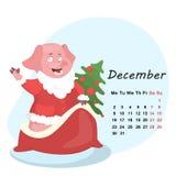 Милый календарь месяца с свиньей на декабрь 2019 иллюстрация вектора
