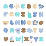 Милый комплект алфавита ребёнка и вектора элементов стоковое фото rf