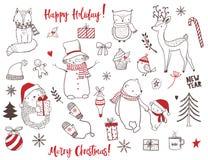 Милый комплект животных и элементов рождества Стоковые Фотографии RF
