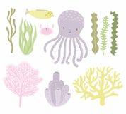 Милый комплект морской жизни иллюстрация штока
