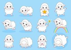 Милый комплект овец шаржа иллюстрация вектора