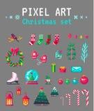 Милый комплект рождества искусства пиксела для дизайна Стоковые Изображения