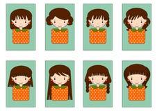 Милый комплект шаржа девушки стоковое изображение