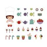 милый комплект десерта Стоковое фото RF