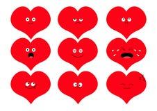 Милый комплект emoji формы сердца Смешные персонажи из мультфильма kawaii Собрание эмоции Счастливый, удивленный, усмехающся, пла Стоковая Фотография