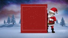 Милый космос экземпляра показа анимации Санта для сообщения рождества видеоматериал