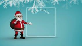 Милый космос экземпляра показа анимации Санта для сообщения рождества бесплатная иллюстрация