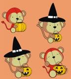 Милый костюм хеллоуина шаржа обезьяны младенца иллюстрация штока