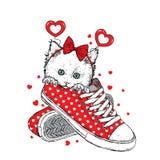 Милый котенок в аксессуарах с сердцами Vector иллюстрация для открытки или плаката, печати для одежд Валентайн дня s Стоковое Изображение