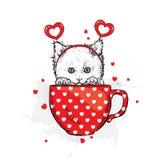 Милый котенок в аксессуарах с сердцами Vector иллюстрация для открытки или плаката, печати для одежд Валентайн дня s Стоковые Фото