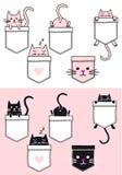 Милый кот в карманн, комплект вектора Стоковые Изображения RF