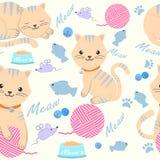 Милый кот с иллюстрацией картины пряжи и игрушки безшовной иллюстрация штока