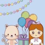 Милый кот с поздравительой открыткой ко дню рождения с днем рождений маленькой девочки иллюстрация вектора