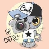 Милый кот шаржа с камерой бесплатная иллюстрация
