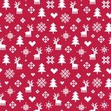 Милый красный цвет и белизна картины пиксела леса зимы Стоковые Изображения