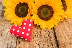 Милый красный цвет поставил точки сердце влюбленности с красивыми желтыми цветками на старой деревянной предпосылке Стоковое Изображение
