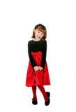 милый красный цвет праздника девушки платья Стоковые Фото