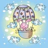Милый кролик на горячем воздушном шаре бесплатная иллюстрация