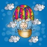 Милый кролик на горячем воздушном шаре иллюстрация вектора