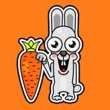 Милый кролик шаржа с оранжевый усмехаться моркови бесплатная иллюстрация