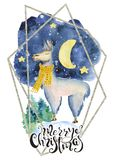 Милый лам в желтой цитате литерности иллюстрации акварели шарфа нарисованной рукой с Рождеством Христовым Стоковая Фотография
