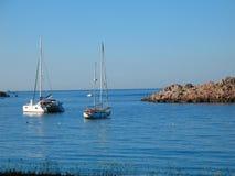 Милый ландшафт с яхтами на море, плавая океан стоковое изображение rf