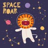 Милый лев в космосе иллюстрация вектора