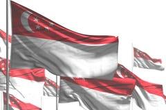 Милый любая иллюстрация флага 3d праздника - много флагов Сингапура волна изолированная на бело- фото с bokeh иллюстрация вектора